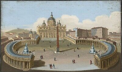 St Peter's Square Basilica, Rome - Original early 19th-century engraving print