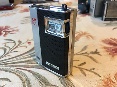 1960s sharp early vintage pocket radio, black / grey and chrome fully working