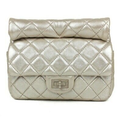 74666073dc5b Chanel Roll Clutch - Light Gold Metallic Leather Reissue Flap Small Handbag