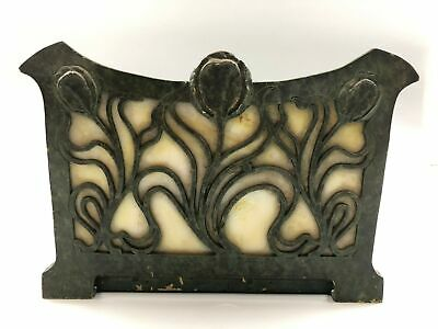 Arts and Crafts Art Nouveau Poppy Slag Glass Apollo Studios Book Rack Bookends
