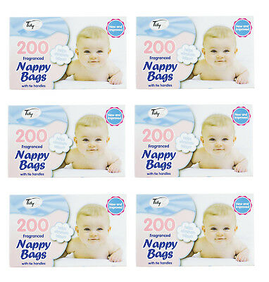Disposable Baby Nappy Bin Bags Sacks Fragranced Scented Perfumed Tie Handles