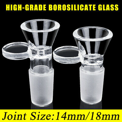 14mm/18mm Clear Borosilicate Slide Male Glass Bowl + Handle Funnel Medical Lab