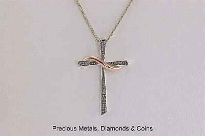"Sterling Silver & 10k Gold 28mm x 18mm Diamond Accent Cross Pendant 18"" Chain"