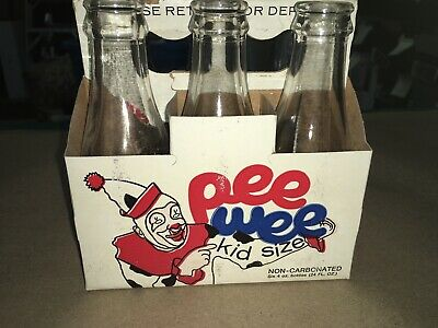 USED PEE WEE SODA CARDBOARD CARTON WITH 6 4 OUNCE BOTTLES 1970's