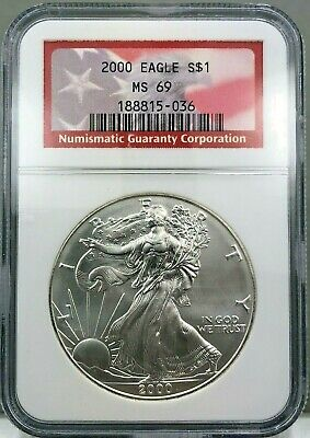 2000 $1 American Silver Eagle 1oz Fine Silver NGC MS69 RED FLAG LABEL