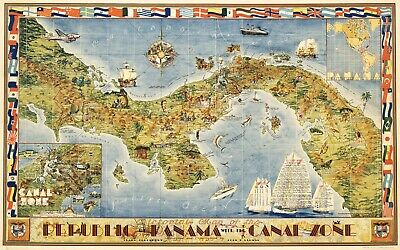 Panama Canal Zone Vintage Pictorial History Map Poster Giclee Canvas Print 32x20