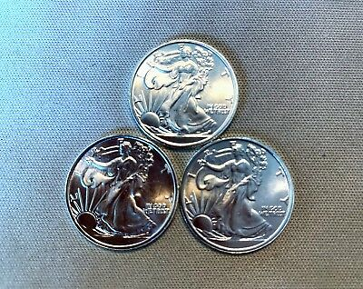 Three 1/10 oz .999 Fine Silver Bullion Walking Liberty Round Coin Fractionals