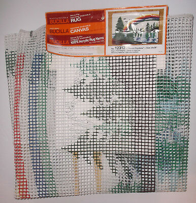 "BUCILLA CANVAS Only For Hooked Rug Forest Rainbow 24""x36"" w Instruction Sheet"