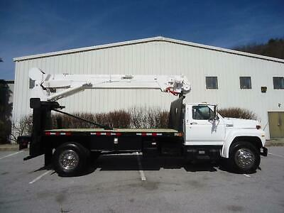 Ford F600 Diesel Crane Boom Truck Telelect Captain 1500 14 Ft Flatbed