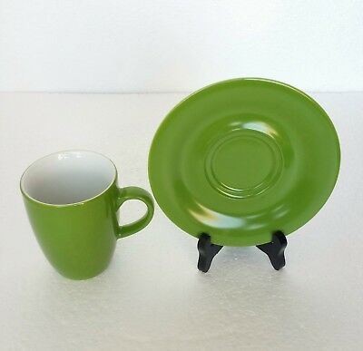 Vintage Kahla Coffee Tea Cup And Saucer Set Green China Stoneware Germany