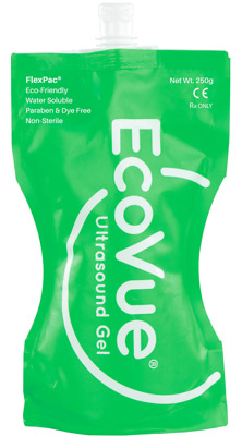 EcoVue Ultrasound Gel, 250g Flex Pac Pouch Eco-Friendly,  Non-Sterile – #285 NEW