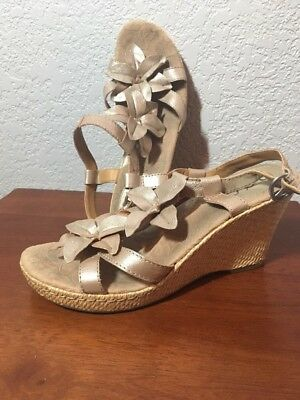 a96430bf0 BORN BOC CONCEPT Women s Wedge Slingback Leather Sandals Heels Metallic  Size 9