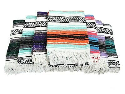 Mexican Blanket Falsa Serape Throw Vintage Baja Style Yoga Saltillo Boho Sarape
