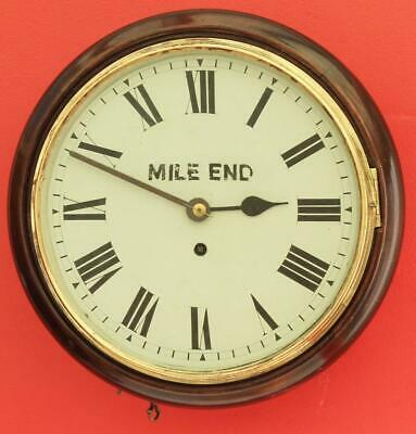 "Antique English Mahogany 8 Day Fusee 10"" Dial Clock Signed Mile End"