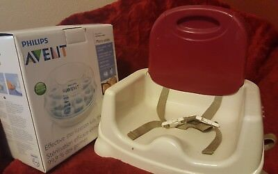 Philips AVENT 6 Baby Bottle Microwave Steam Sterilizer, plus Fisher-price seat