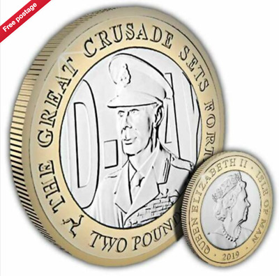 Uncirculated Two Pound Isle of Man 2019 D-Day King George VI £2 Bi-Metal Coin