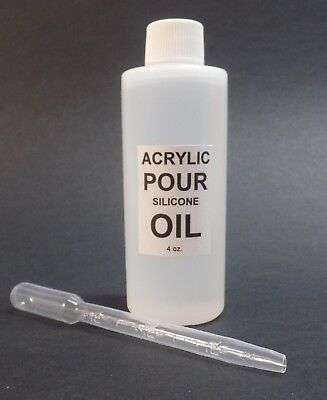 4 OZ. ACRYLIC POURING 100% SILICONE OIL with PIPETTE CREATE FANTASTIC CELLS