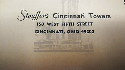 Vintage Ohio Stouffer's Cincinnati Towers Hotel Reservations Request Form