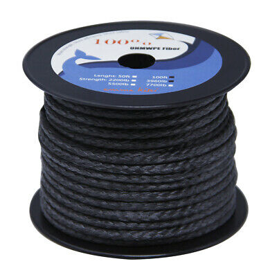 """High Strength 3960lb Braided BLACK UHMWPE Line Rope 5/32"""" for Fishing Sailing"""