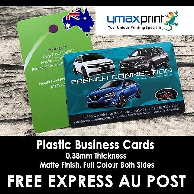 1000x Plastic Business Cards 0.38mm Phone Card Thickness Matt Finish Full Colour