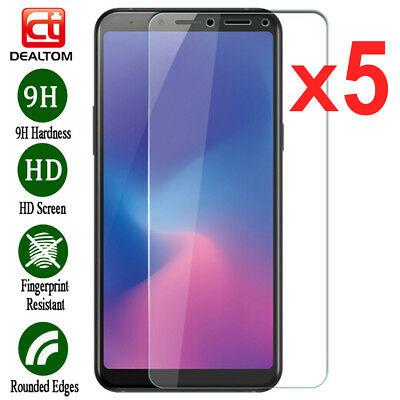 5Pcs Tempered Glass Screen Protector For Samsung Galaxy A6 A7 A8 Plus A9 2018 CA