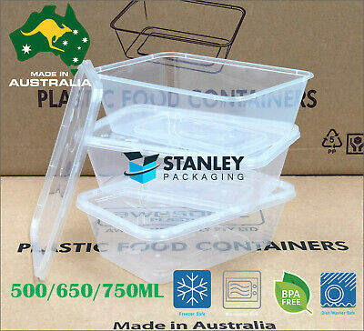 200pcs Takeaway Food Container Plastic Disposable 100xBox+Lids 500/650/750/1000