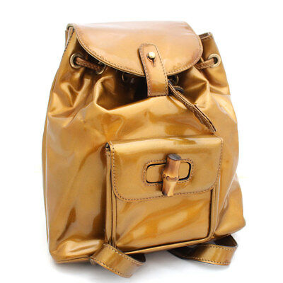 205d7656dc61 GUCCI 003 · 1705 · 0030 Bamboo Rucksack Backpack Patent leather Women