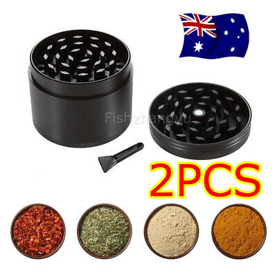 2 Metal Zinc Alloy Black Tobacco Herb Grinder 4-Layers Hand Muller Smoke Crusher