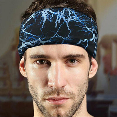 Unisex~Women Men Stretch Headband Sport Sweat Sweatband Yoga Gym Hair Band Cool