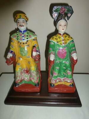 Chinese Antique Emperor And Empress Porcelain Figures