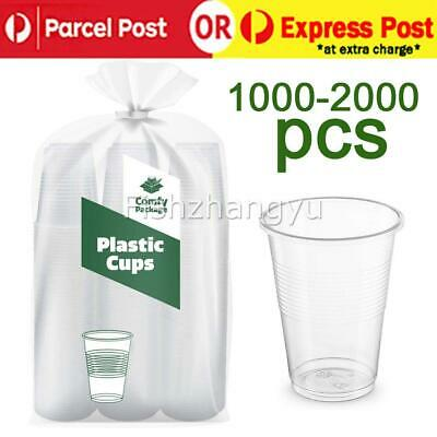 2000X Disposable Plastic Cups Clear Reusable Drinking Water Cup Party 200ml Bulk