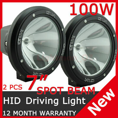 Pair 100W 7Inch Hid Xenon Driving Lights Spot Pencil Beam Offroad Work Ute 12V
