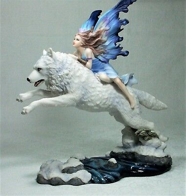 Collectable Statue Snow Fairy on Arctic Wolf by Veronese Design Hand Made New