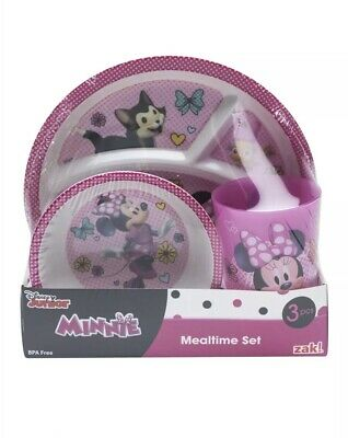 NEW Zak 3 Pc Disney Jr Minnie Mouse Mealtime Character Set Plate Bowl Cup Girls