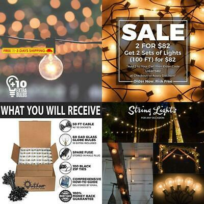 50ft Black String Lights, 60 G40 Globe Bulbs (10 Extra): Connectable, Waterproof