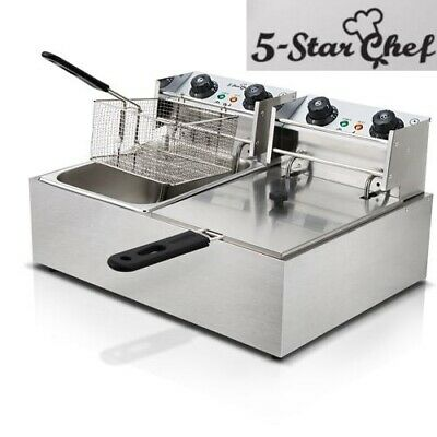 5-Star Chef Commercial Electric Deep Twin Fryer Frying Basket Chip Cooker 5000W