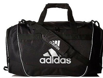 32d0a01ebe25 New Adidas Defender II Duffel Bag Sport Small Travel Run Gym Bag Black White