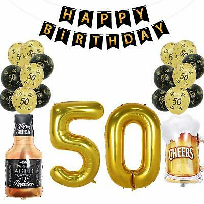 50th Birthday Decorations Supplies Pack Black Happy Banner With Beer Mug Ballons