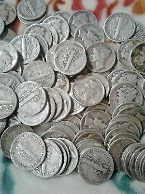 Mercury Dimes 90% Silver - Lot of 10-1930's and 40's dates Avg Circulated