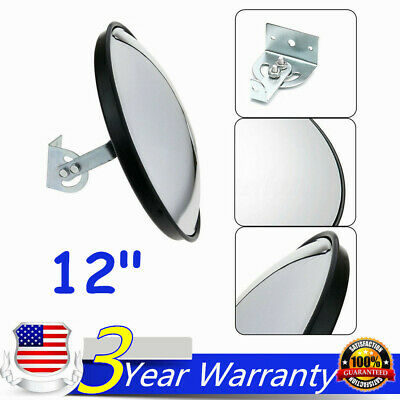 "12"" Wide Angle Convex PC Mirror w/ Bracket Wall Mount Corner Blind Spot Security"