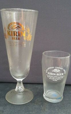2 x RARE COLLECTABLE KIRIN BREWERY COMPANY BEER GLASS