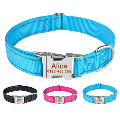 Nylon Personalised Dog Collar Small Large Pet Cat Dogs Custom ID Name Heavy Duty