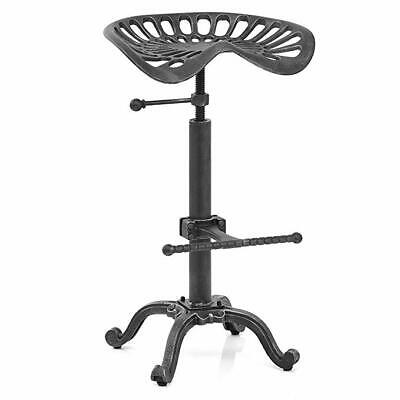 Rustic Industrial Bar Stool Cast Iron Tractor Stool Adjustable Height  Swivel Sto