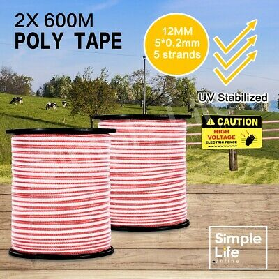 2PCS 600M Electric Roll Polytape Stainless Steel Stabilized Fence Poly Tape Wire