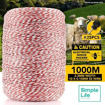 1000M Electric Fence Fencing Roll Polywire Stainless Steel Poly Tape Insulator