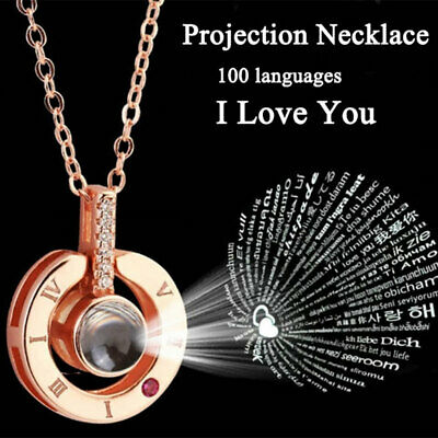 100 Language I Love You Projection Necklace for Memory of LOVE Gift Mother'sDay