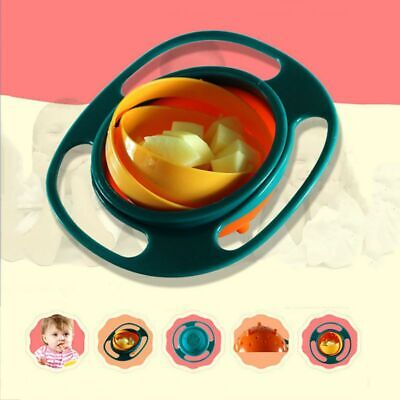 Baby Infant Feeding Bowl Universal 360 Rotate Gyro Spill-Proof Bowl Funny Hot US
