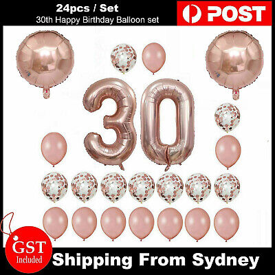 24pcs/set 30th Happy Birthday Balloon Rose Gold Heart Confetti Number Balloons A