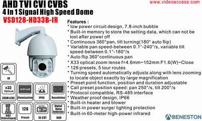 AHD TVI CVI CVBS 4 in 1 Smart IR Dome Camera  PTZ 1080p IP66 CCTV 33X Speed Dome