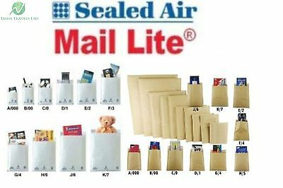 Mail Lite A000 B00 C0 D1 E2 F3 G4 H5 J6 K7 Bubble Envelopes White Gold Brown Hq